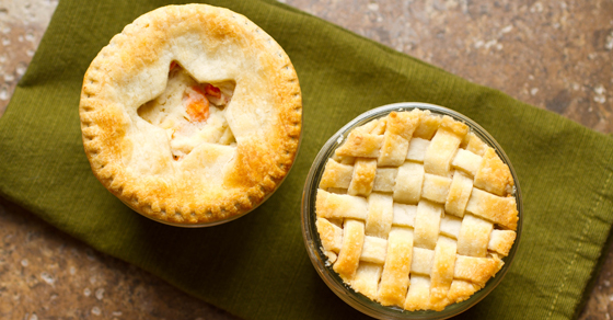Mini chicken pot pies baked in wide-mouthed Mason jars are the perfect dinner on a cold winter night.