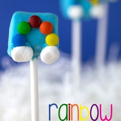Rainbow Marshmallow Pops with Clouds
