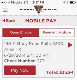 BJ's Restaurant Mobile Pay