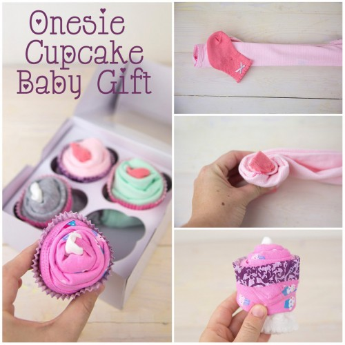 Onesie Cupcake Baby Shower Gift Text