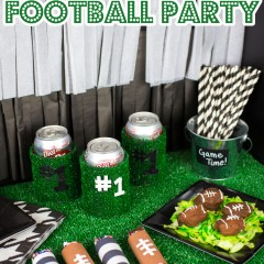 Classic Black and White Football Party Small
