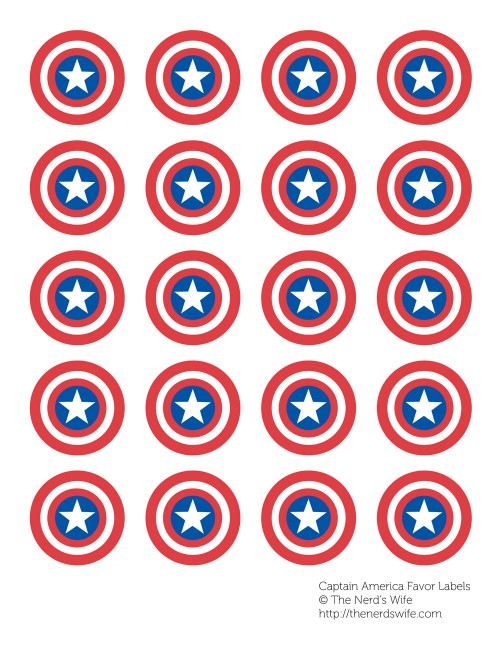Captain America Favor Labels