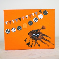 Spider Handprint Halloween Craft Square