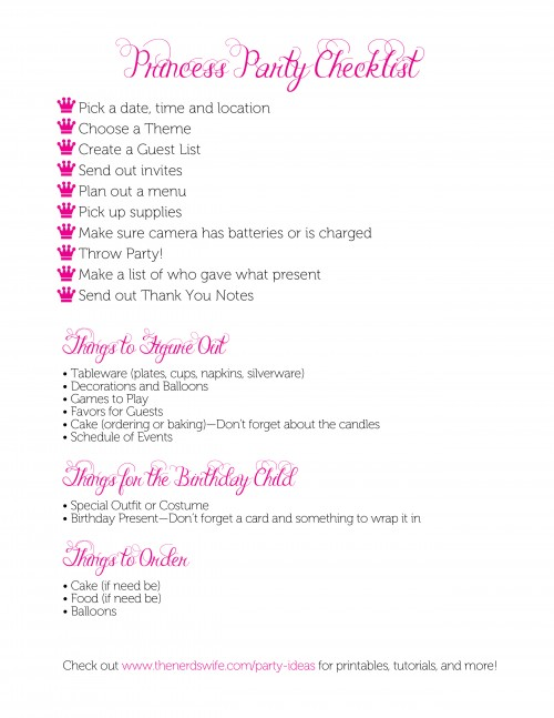 Princess Party Checklist