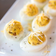 Bacon Deviled Eggs with Caramelized Onions Square