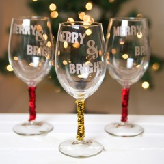 Merry and Bright Sequin Wine Glasses Square