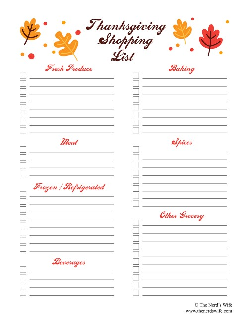 Thanksgiving Shopping List Printable