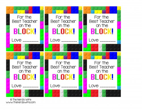 Best Teacher on the Block LEGO Gift Tag