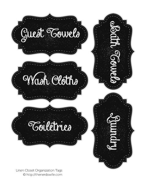 Linen Closet Organization Tags