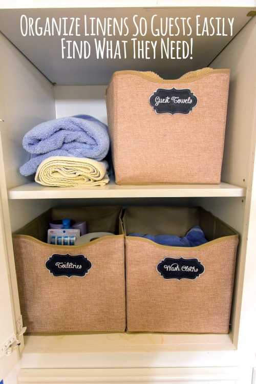 Organize Linens in Bins