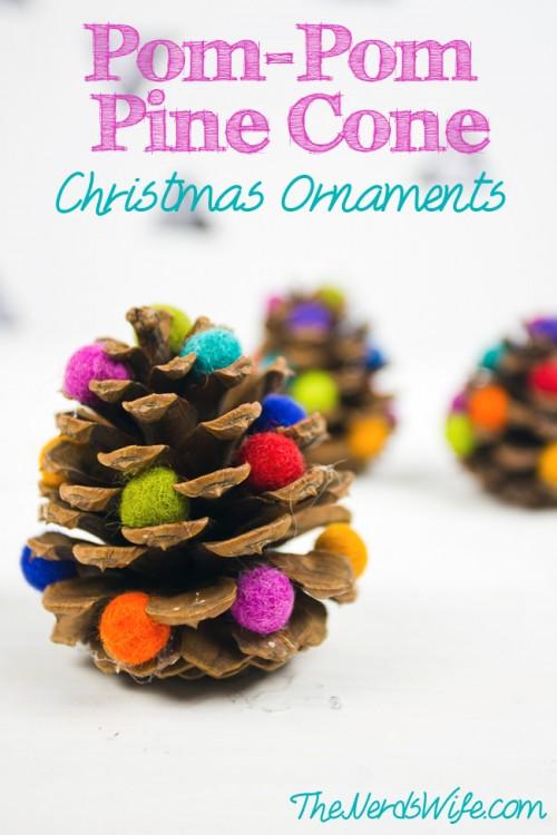 Pom Pom Pine Cone Christmas Ornaments