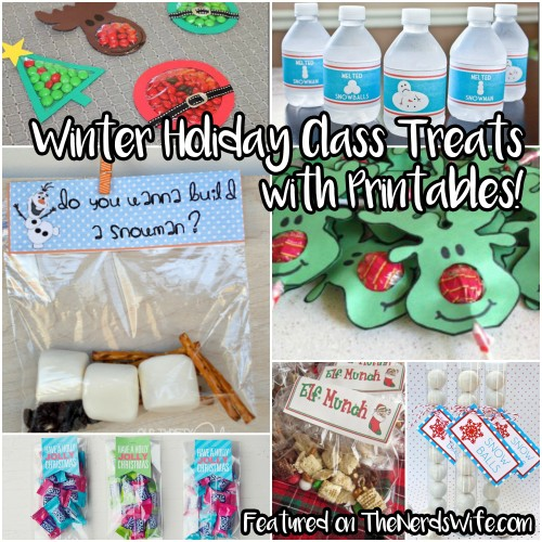 Printable Class Treats for Winter Holiday Parties