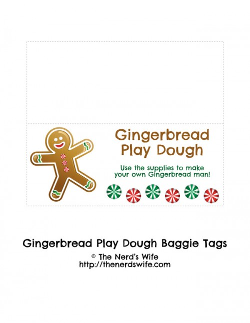 Gingerbread Play Dough Baggie Tags