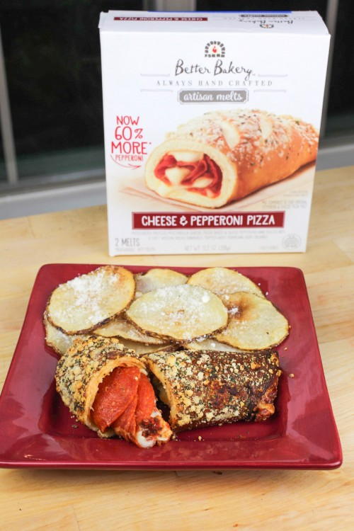 Pepperoni Sandwich and Parmesan Chips