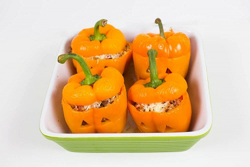 Jack-o-Lantern Stuffed Peppers-1