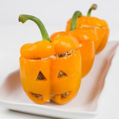 Jack-o-Lantern Stuffed Peppers-5